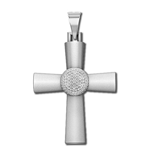 Sterling Silver High Polished Golf Ball Cross