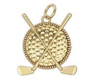 Golf Ball   Clubs Round Rope Frame Golf Jewelry Pendant or Charm