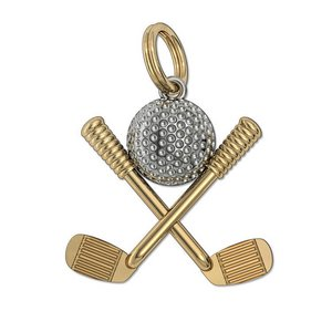 Two Tone Golf Ball with Clubs Charm