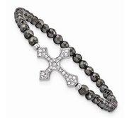 Sterling Silver Sideways Cross Stretch Bracelet