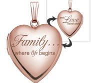 14k Rose Gold  Family Love  Heart Locket