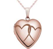 Rose Gold  Interlocking Hearts  Heart Locket