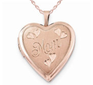 Sterling Silver Rose Gold Plated  Mom  Heart Locket