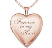 Sterling Silver Rose Gold Plated  Forever In My Heart  Heart Locket
