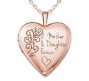 Rose Gold Plated Mother   Daughter Forever Heart Photo Locket
