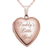 Solid 14K Rose Gold Daddy s Little Girl Heart Locket