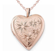 Sterling Silver Rose Gold Plated Floral Heart Locket
