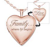 Rose Gold Plated Family Love Heart Photo Locket