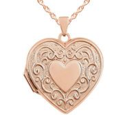 14k Rose Gold Heart Scroll Design Locket