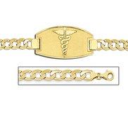 14K Gold Medical ID Bracelet w  Curb Chain