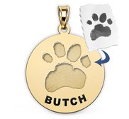 Personalized Round Shape Paw Print Medal