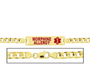 Women s Morphine Allergy Curb Link  Medical ID Bracelet
