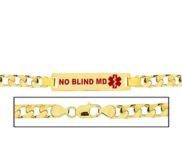 Men s No Blind Md Curb Link Medical ID Bracelet