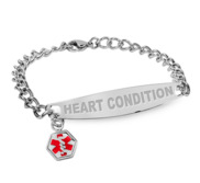 Stainless Steel Women s Heart Condition Medical ID Bracelet