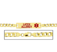 Women s Latex Allergy Curb Link  Medical ID Bracelet