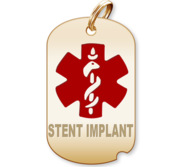 Dog Tag Stent Implant Charm or Pendant