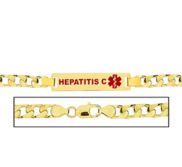 Men s Hepatitis C Curb Link Medical ID Bracelet