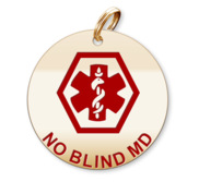 Medical Round No Blind Md Charm or Pendant