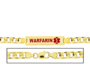 Men s Curb Link  Warfarin  Medical ID Bracelet