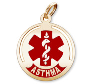 Round Medical  Asthma  Pendant or Charm