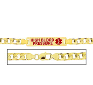 Men s High Blood Pressure Curb Link Medical ID Bracelet