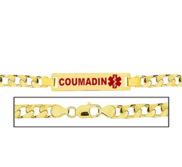 Men s Curb Link  Coumadin  Medical ID Bracelet