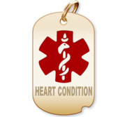 Dog Tag  Heart Condition  Medical Pendant