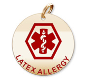Medical Round Latex Allergy Charm or Pendant