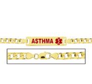 Women s Curb Link  Asthma  Medical ID Bracelet