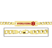 Women s Curb Link  Hyperglycemia  Medical ID Bracelet