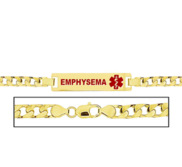 Women s Curb Link  Emphysema  Medical ID Bracelet