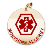 Medical Round Morphine Allergy Charm or Pendant