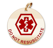 Medical Round Do Not Resuscitate Charm or Pendant