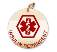Medical Round Insulin Dependent Charm or Pendant