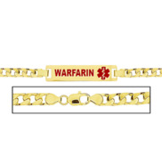 Women s Curb Link  Warfarin  Medical ID Bracelet