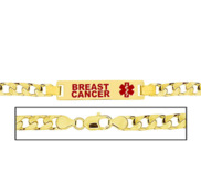 Men s Breast Cancer Curb Link Medical ID Bracelet