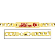 Men s Heart Condition Curb Link Medical ID Bracelet