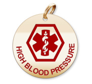 Medical Round High Blood Pressure Charm or Pendant