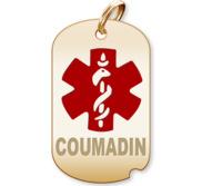 Dog Tag  Coumadin  Medical Pendant