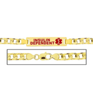 Men s Insulin Dependent Curb Link Medical ID Bracelet