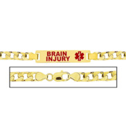 Men s Brain Injury Curb Link Medical ID Bracelet