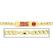 Women s Breast Cancer Curb Link  Medical ID Bracelet