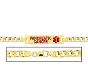 Women s Pancreatic Cancer Curb Link  Medical ID Bracelet