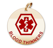 Medical Round Blood Thinners Charm or Pendant