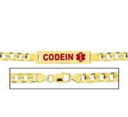 Men s Curb Link  Codeine  Medical ID Bracelet