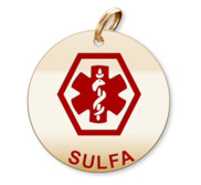 Medical Round Sulfa Charm or Pendant