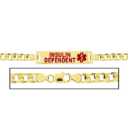 Women s Insulin Dependent Curb Link  Medical ID Bracelet