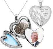 Always in my Heart   Footprints  Cremation   Hair Photo Locket