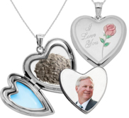 Sterling Silver  I love You  Cremation   Hair Photo Locket