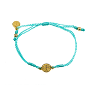 My Saint My Hero   Saint Benedict Gold Cross Cord Bracelet